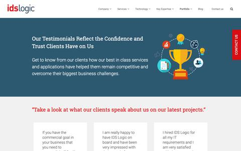 Screenshot of Testimonials Page idslogic.com - Testimonial - captured Oct. 1, 2018