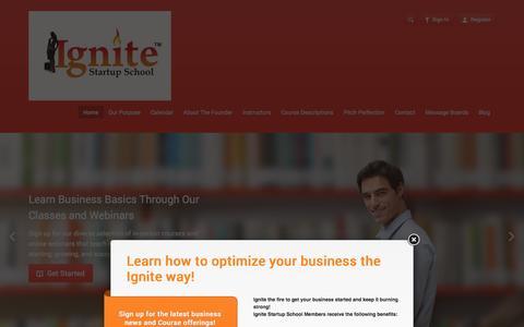 Screenshot of Home Page ignitestartupschool.com - Ignite Startup School - captured Sept. 30, 2014