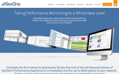Screenshot of Trial Page sevone.com - Free Trial | SevOne - Network Performance Management & Monitoring for Your Entire Infrastructure - captured Nov. 3, 2014