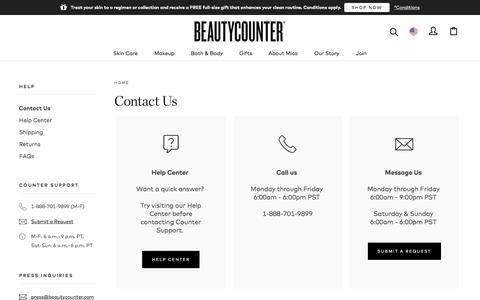 Screenshot of Contact Page beautycounter.com - Contact Us | Beautycounter - captured Feb. 13, 2020