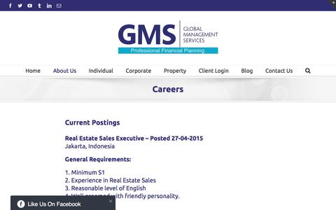 Screenshot of Jobs Page gms-financial.com - Careers - GMS Financial - captured Oct. 16, 2016