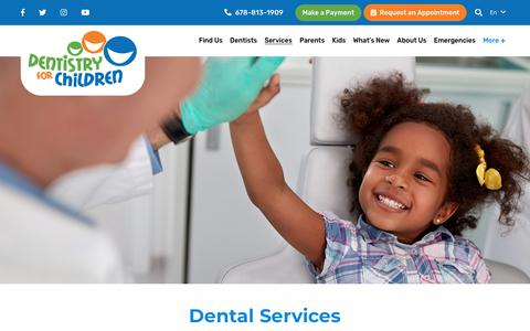 Screenshot of Services Page dentistry4children.com - Dental Services | Dentistry for Children GA - captured Oct. 8, 2018