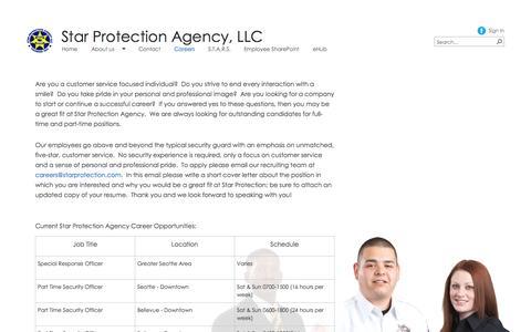 Screenshot of Jobs Page starprotectionpnw.com - Careers - captured Oct. 6, 2014