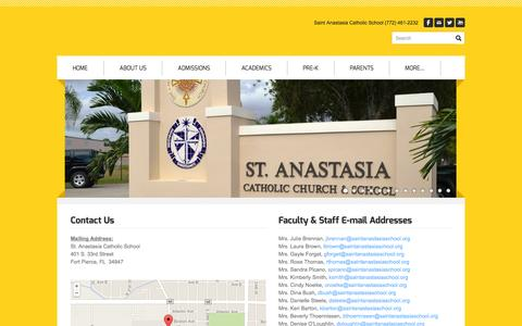 Screenshot of Contact Page saintanastasiaschool.org - Contact Us - Saint Anastasia Catholic School - captured Oct. 7, 2014