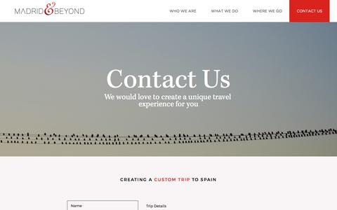 Screenshot of Contact Page madridandbeyond.com - Quick & Easy Form to Start Planning Your Dream Vacation to Spain - captured Nov. 15, 2016