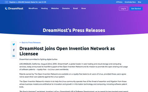 Screenshot of Press Page dreamhost.com - DreamHost joins Open Invention Network as Licensee  – DreamHost - captured Feb. 21, 2020