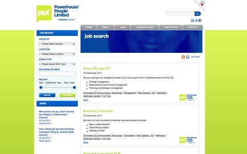 Screenshot of Jobs Page powerhousepeople.co.nz captured Sept. 30, 2014