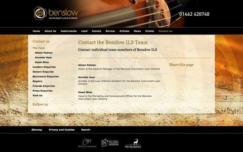 Screenshot of Team Page benslow-musical-instrument-hire.org.uk - Benslow Instrument Loan Scheme - Contact the Benslow ILS Team - captured March 5, 2016
