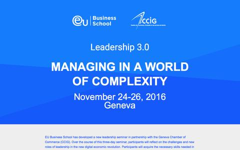 Screenshot of Landing Page euruni.edu - Managing in a world of complexity - captured Feb. 25, 2017