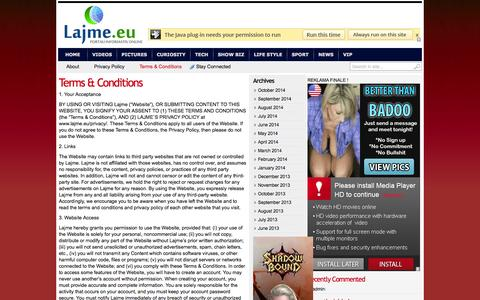 Screenshot of Terms Page lajme.eu - Terms & Conditions - captured Nov. 4, 2014