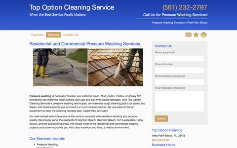 Screenshot of Services Page powerwashpros.net - Pressure Washing - Top Option Cleaning Services - West Palm Beach - FL - captured Nov. 10, 2016