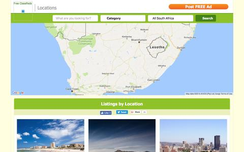 Screenshot of Locations Page gumtree.co.za - Gumtree South Africa City Guides - captured Dec. 16, 2016
