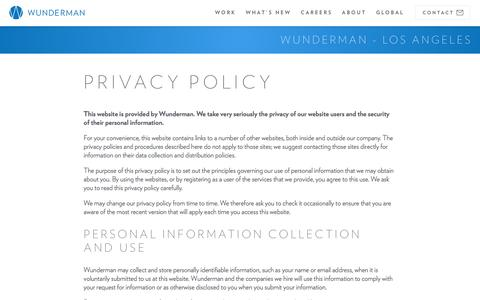 Screenshot of Privacy Page wunderman.com - Privacy Policy | Wunderman - captured April 30, 2017