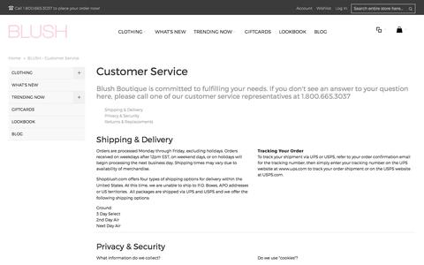 Screenshot of Support Page shopblush.com - BLUSH - Customer Service - captured Oct. 9, 2017
