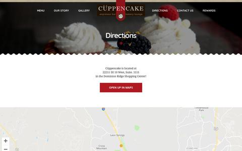 Screenshot of Maps & Directions Page cuppencake.com - Directions - Cuppencake - captured Sept. 30, 2018