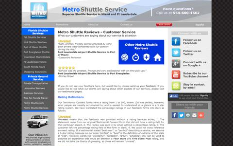 Screenshot of Support Page metroshuttleservice.com - Metro Shuttle Service Reviews on Service - captured Sept. 20, 2018