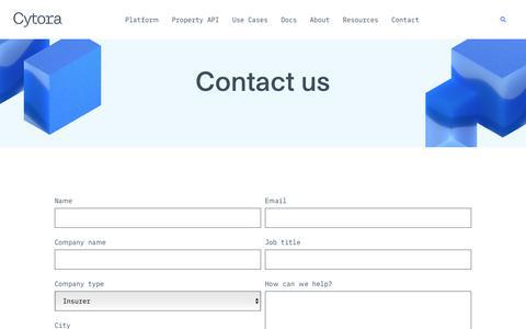 Screenshot of Contact Page cytora.com - Contact – Cytora - captured Nov. 18, 2019