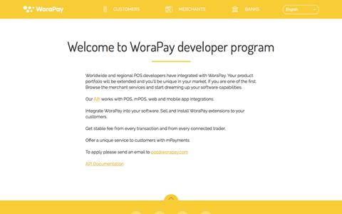 Screenshot of Developers Page worapay.com - Developers | WoraPay - captured April 18, 2016