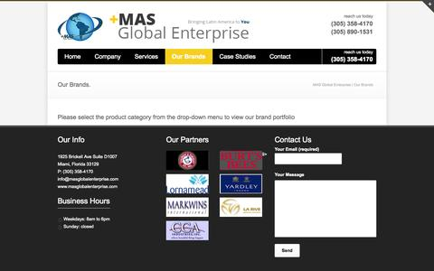 Screenshot of Products Page masglobalenterprise.com - MAS Global Enterprise   –  Our Brands - captured Oct. 3, 2014