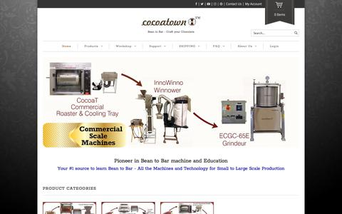 Screenshot of Home Page cocoatown.com - Home - CocoaTown CocoaTown Bean to Bar Machines and education - captured July 19, 2018