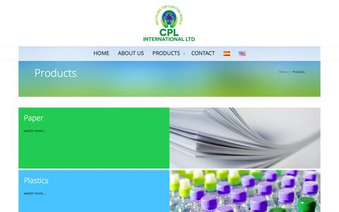 Screenshot of Products Page cplrecycling.com - Products | CPL RECYCLING - captured Oct. 9, 2016