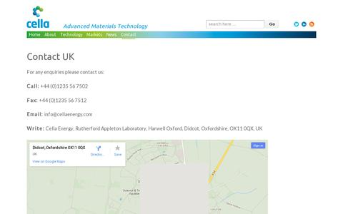 Screenshot of Contact Page cellaenergy.com - Contact UK | Hydrogen storage materials development since 2011 - captured July 19, 2014