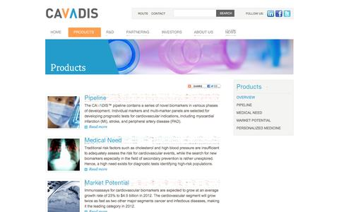 Screenshot of Products Page cavadis.com - Cavadis | developing diagnostic tests for cardiovascular disease - Products - captured Sept. 29, 2014