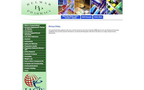 Screenshot of Privacy Page belmarpharmacy.com - Belmar Pharmacy  Privacy Policy - captured Sept. 30, 2014