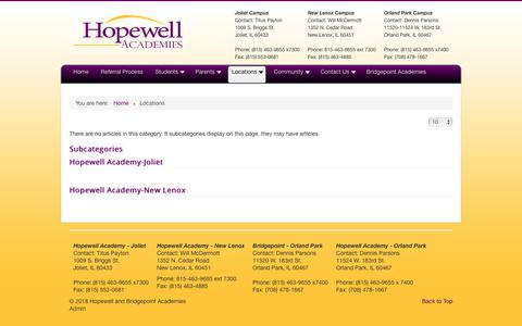Screenshot of Locations Page hopewellschools.com - Locations - Hopewell and Bridgepoint Academies - captured Oct. 6, 2018