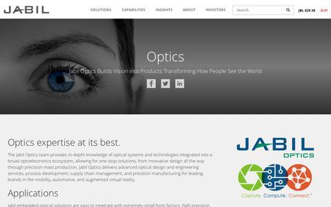 Screenshot of jabil.com - Optics   Jabil - captured May 26, 2017