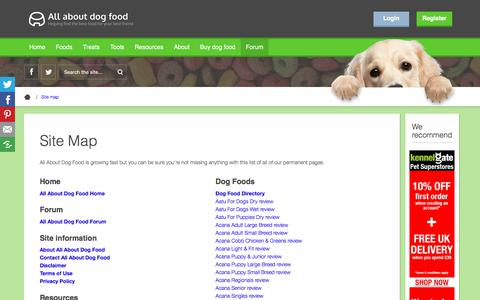 Screenshot of Site Map Page allaboutdogfood.co.uk - Site Map | All About Dog Food - captured Nov. 1, 2019