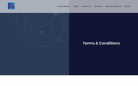 Screenshot of Terms Page e3s.com - Terms & Conditions | e3 Systems - captured Sept. 30, 2018