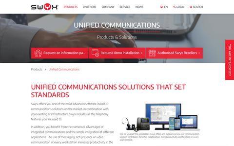 Screenshot of Products Page swyx.com - Unified Communications - Swyx - captured May 23, 2019