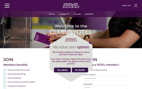 Screenshot of Signup Page yotel.com - Login/Register - captured Nov. 5, 2018