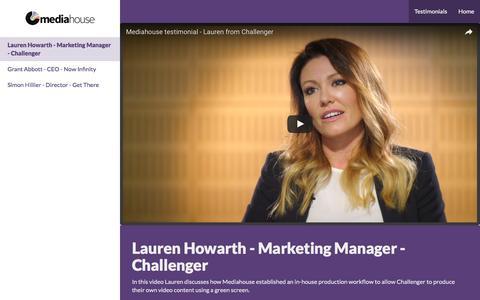 Screenshot of Testimonials Page mediahouse.com.au - Lauren Howarth - Marketing Manager - Challenger · Mediahouse - captured Jan. 21, 2017