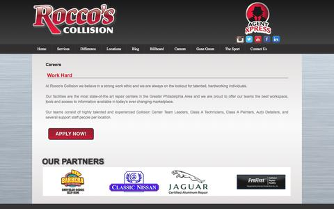 Screenshot of Jobs Page roccoscollision.com - Careers | Rocco's Collision - captured Oct. 6, 2014