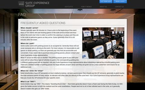 Screenshot of FAQ Page suiteexperiencegroup.com - FAQ | Suite Experience Group - captured Dec. 17, 2016