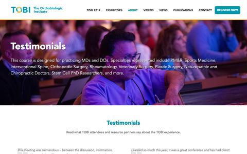 Screenshot of Testimonials Page prpseminar.com - Testimonials - TOBI PRP Seminar - captured Oct. 18, 2018