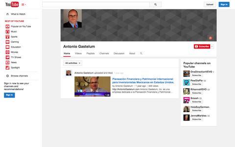 Screenshot of YouTube Page youtube.com - Antonio Gastelum  - YouTube - captured Oct. 23, 2014