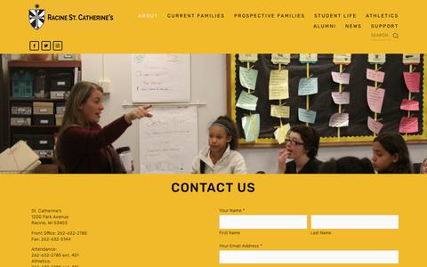 Screenshot of Contact Page saintcats.org - Contact Us — Racine St. Catherine's - captured Oct. 18, 2018