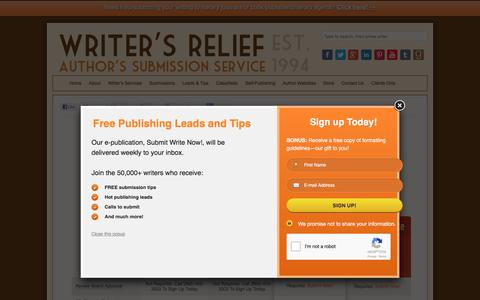 Screenshot of Pricing Page writersrelief.com - Pricing - Writer's Relief, Inc. - captured Sept. 14, 2016