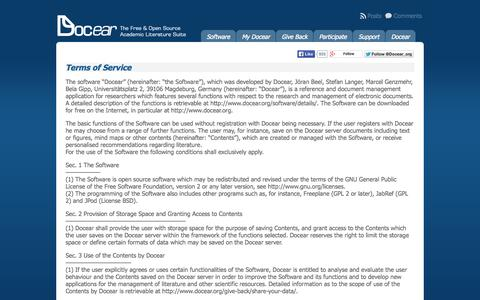 Screenshot of Terms Page docear.org - Terms of Service « Docear - captured Sept. 18, 2014