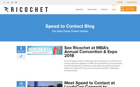 Screenshot of Blog speedtocontact.com - Ricochet Blog: Tips, News, Events, Product Updates » Speed to Contact - captured Oct. 19, 2018