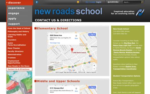 Screenshot of Contact Page Maps & Directions Page newroads.org - New Roads School Contact Us & Directions - captured Dec. 3, 2016