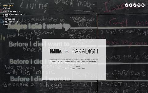 Screenshot of Home Page hahaxparadigm.org - HAHA x Paradigm - captured Sept. 26, 2014