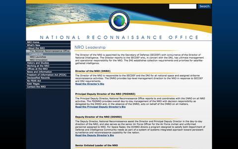 Screenshot of Team Page nrojr.gov - NRO - Leadership - captured March 5, 2016