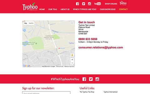 Screenshot of Contact Page typhoo.co.uk - Typhoo Tea   Contact - Typhoo Tea - captured Oct. 26, 2017