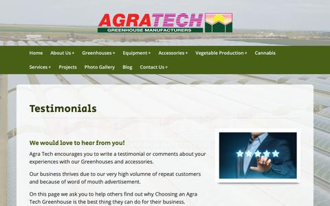 Screenshot of Testimonials Page agratech.com - Commercial Greenhouse Manufacturer | Metal Structure | Vegetable - captured Oct. 23, 2018