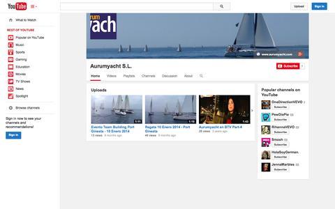 Screenshot of YouTube Page youtube.com - Aurumyacht S.L.  - YouTube - captured Oct. 23, 2014