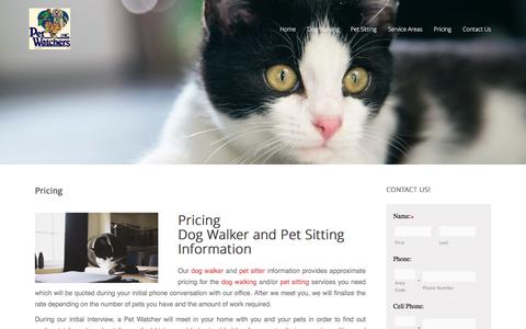 Screenshot of Pricing Page petwatchersnj.com - dog walker and pet sitting information - captured March 2, 2017